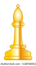Illustration of the abstract gold chess bishop piece