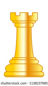 Illustration of the abstract gold chess rook piece