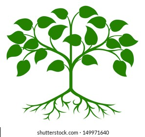 An illustration of an abstract green stylised tree