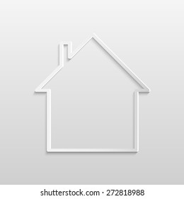 Illustration of an abstract house design against a light background.