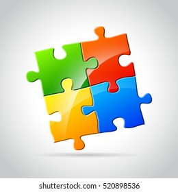 Illustration of abstract jigsaw puzzle concept design