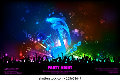 illustration of abstract musical note for party background