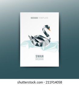 Illustration of abstract origami black swan