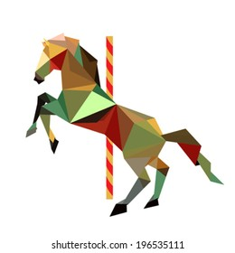 Illustration of abstract origami carousel horse
