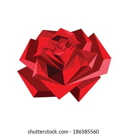 Illustration of abstract origami red rose isolated on white background