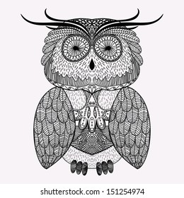Illustration with abstract ornamental owl