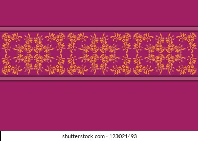 Illustration of abstract purple background with yellow flower lace pattern.
