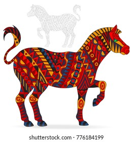 Illustration of abstract red Zebra, animal and painted its outline on white background , isolate