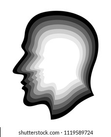 Illustration of the abstract silhouette layer human profile head