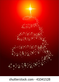 Illustration of abstract sparkling christmas tree