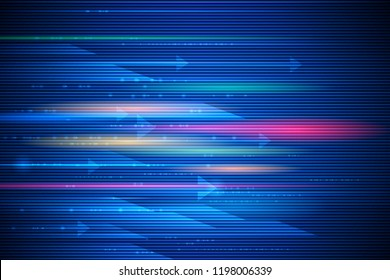 Illustration abstract speed movement and light effect, lines pattern design. High speed movement and motion blur over dark blue background. Futuristic, hi tech technology concept.