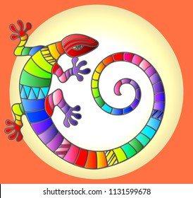 Illustration with abstract stained glass rainbow lizard in circle  on orange background
