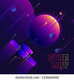 Illustration of abstract star way with space station, planets and meteorites