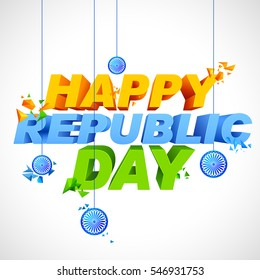 illustration of abstract tricolor background for Happy Republic Day of India