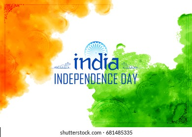 illustration of Abstract tricolor Indian flag watercolor background for Happy Independence Day of India