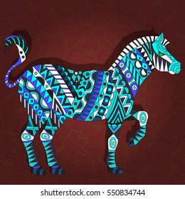 Illustration with abstract Zebra on a dark red floral background