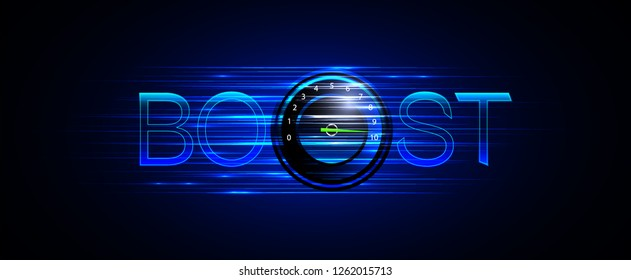 Illustration of accelerator speed turbo boost. Dark blue background