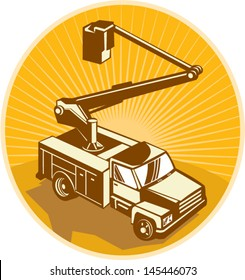 Illustration of a access crane equipment bucket truck cherry picker pick-up truck viewed from high angle done in retro style.