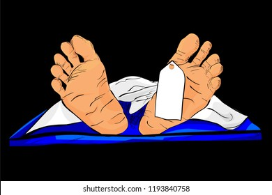 Illustration for accident or crime vitcim, hand draw sketch of Dead Body, Isolated on White