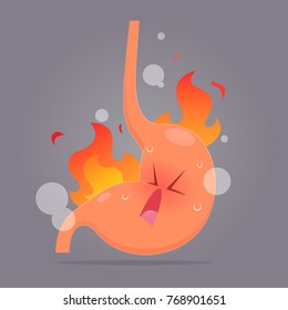 Illustration from acid reflux or heartburn, Cartoon vector, Concept with internal health