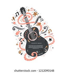 Illustration with acoustic guitar and place for your text on it. Great element for music festival or banner made in vector.