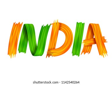 illustration of acrylic brush stroke tricolor banner with Indian flag for 15th August Happy Independence Day of India  background