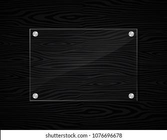 Illustration of acrylic frame on black wood background