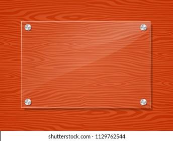 Illustration of acrylic frame on wood background