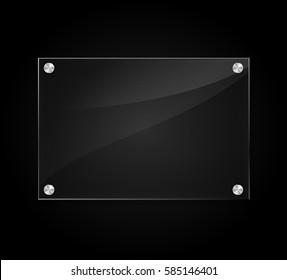 Illustration of acrylic sign on black background