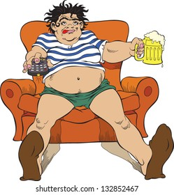 Illustration of addicted woman on television and alcohol. Every women can do things that men can do.