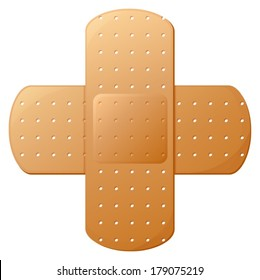 Illustration of an adhesive bandage on a white background