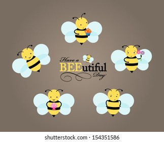 Illustration of adorable little bees