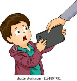 Illustration of an Adult Hand Taking Computer Tablet from a Kid Boy to Manage Screen Time