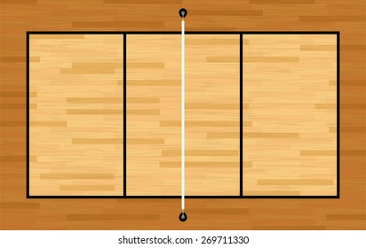 An illustration of an aerial view of a hardwood volleyball court and net. Vector EPS 10.