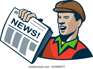 Illustration of an african american newsboy delivery holding newspaper done in retro style.