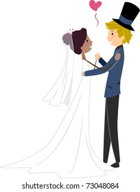 Illustration of an African Bride and a Caucasian Groom
