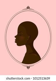 Illustration of an African Girl with Buzz Cut Hair Inside an Oval Frame