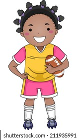 Illustration of an African-American Girl Dressed in Football Gear