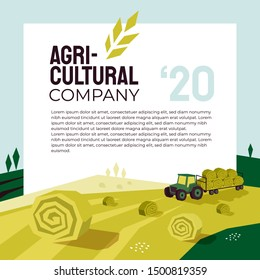 Illustration of agriculture with tractor, hayfield, haystack rolls, farm land, field. Agricultural company poster. Template for banner, annual report, print, flyer, layout, landing page, website, blog