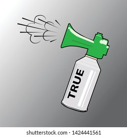 An Illustration of Air Horn in Green, Gray and White Colors for Sport Fans or Citizens Against Government and Corruption. Attention. True.