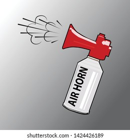 An Illustration of Air Horn in Red, Gray and White Colors for Sport Fans or Citizens Against Government and Corruption. Attention.