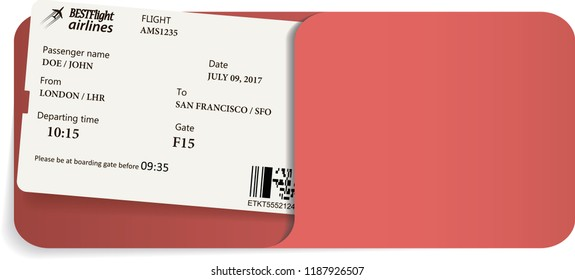 Illustration of airline ticket or boarding pass inside of red envelope.