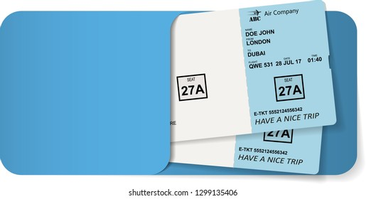 Illustration of airline ticket or boarding pass inside of blue envelope. Vector