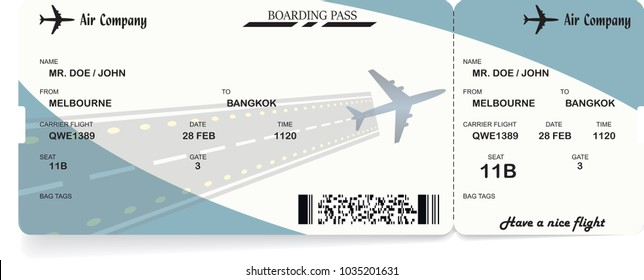 Illustration of airplane boarding pass. Blue flight coupon. Vector airline ticket.