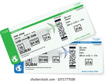 Illustration of airplane boarding pass. Blue and green flight coupon. Vector airline ticket.