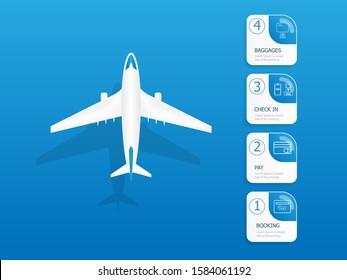 illustration of airplane flights information vertical timeline infographics vector background