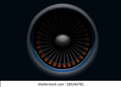 illustration of airplane turbine in the darkness