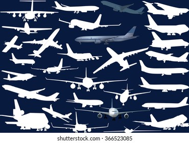 illustration with airplanes collection isolated on blue background