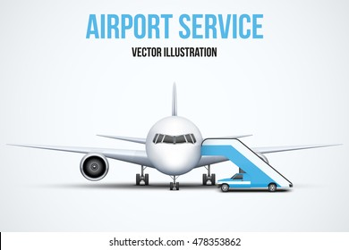 Illustration of Airport service. Front view of Civil Aircraft standing on the chassis and service stair car. Public or private plane. Vector isolated on background.