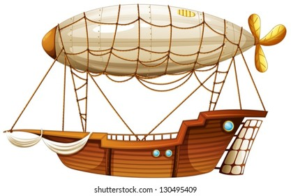 Illustration of an airship on a white background